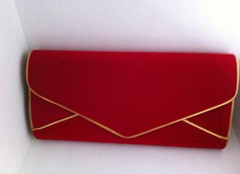 Large Red & Gold Velvet Clutch Bag