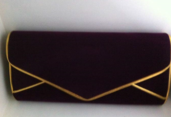 Large Purple & Gold Velvet Clutch Bag
