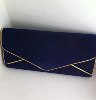 Large Blue & Gold Velvet Clutch Bag