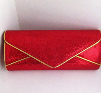 Red Glitter Style Clutch Bag With Gold Piping