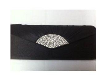 Black Clutch Bag With Diamante Clasp