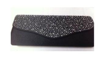 Large Black Diamante Clutch Bag