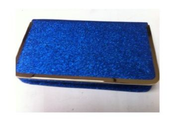 Large Electric Blue Glitter Box Style Evening / Clutch Bag