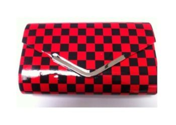 Red & Black Chequered Clutch Bag