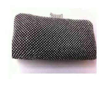 Black & Silver Diamante Hard Cased Clutch Bag
