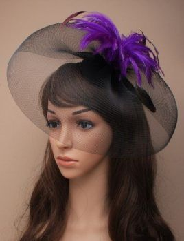 Womens New Fashion Elegant Black Large Net for Students with Coloured Feather Hair Clip