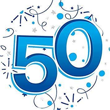 Jumbo Badge 50th - Blue and White