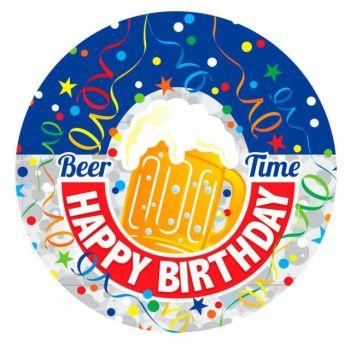 Jumbo Badge Beer Time Happy Birthday