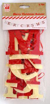 2.75 m Merry Christmas Felt Letter Banner Red Cream Hanging Garland