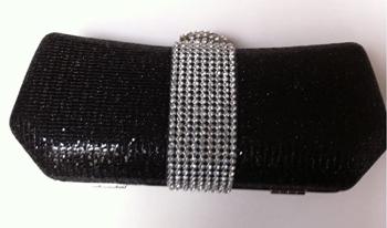 Black Glitter & Diamante Clutch Bag