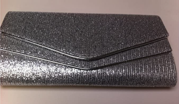 Large Silver Glitter & Piping Clutch / Evening Bag