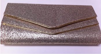 Large Gold Glitter & Piping Clutch / Evening Bag