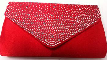 Red Diamante Clutch Bag