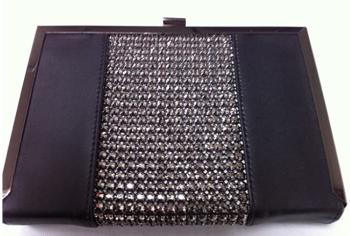 Black Faux Leather & Diamante Box Clutch Bag