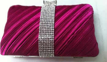 Pink Diamante Band Hard Cased Clutch Bag