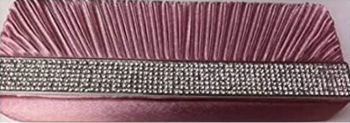 New Baby Pink Satin & Diamante Clutch Bag