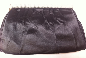 New Small Black Satin and Diamante Clutch Bag