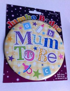 Jumbo Mum To Be Badge - Yellow