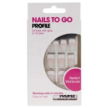 Salon System Nails to Go Profile 24 Nails with Glue - Simply Pink