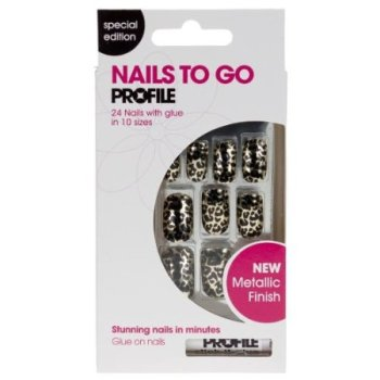 Salon System Nails to Go Profile 24 Nails with Glue - Metallic Leopard