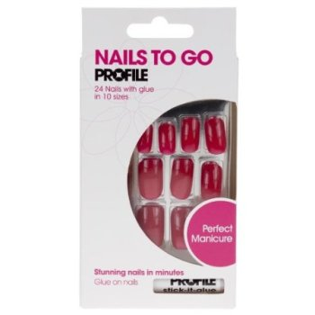 Salon System Nails to Go Profile 24 Nails with Glue - Smile