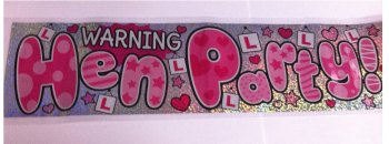 Warning Hen Party Banner - Pink  & Silver