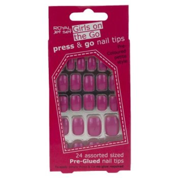 Royal Girls On The Go Press & Go Pre-Glued Nail Tips - Pink