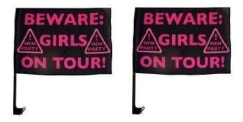 Beware Girls On Tour! Hen Party Car Flags (pack of 2)