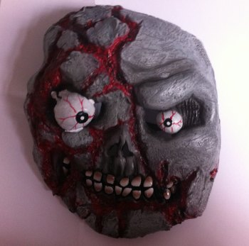 Halloween Zombie Skull PVC Full Face Mask * With Free Bloody Cleaver *
