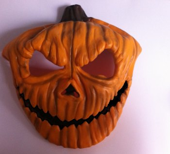 Halloween Pumpkin PVC Full Face Mask * With Free Bloody Cleaver *