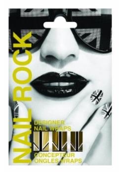 Nail Rock Union Jack Gold & Black Nail Wraps