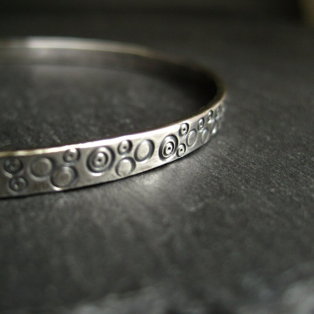 Stamped Sterling Silver Bangle - Circle Design - Oxidized Finish