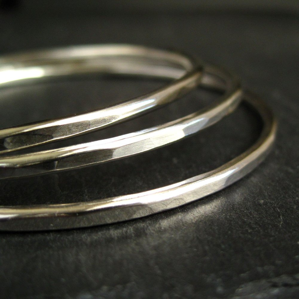 Set of Three Sterling Silver Stacking Bangles - Hammered Finish