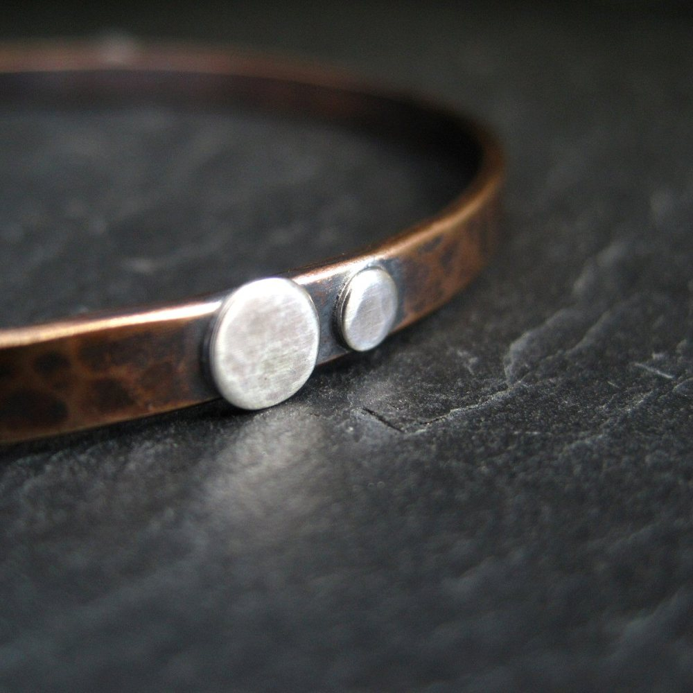 Hammered Bronze Bangle with Silver Discs - Oxidized Finish