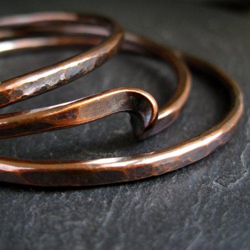 Simple Twist Hammered Copper Bangle Set