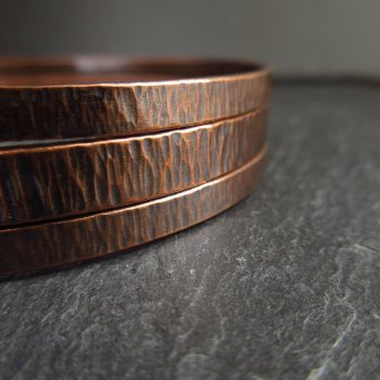Copper Bangle Set Hammered Bark Texture Handmade