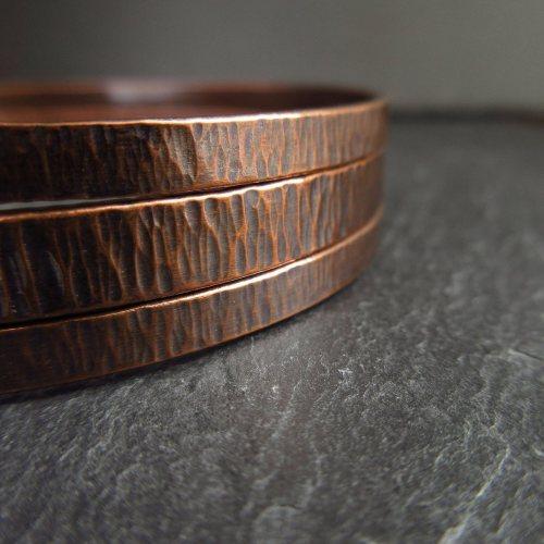 Copper Bangle Set Hammered Bark Texture Handmade
