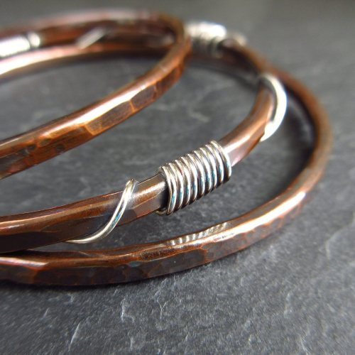 Hammered Copper Bangles with Silver Wire Coils and Twists - Set of Three