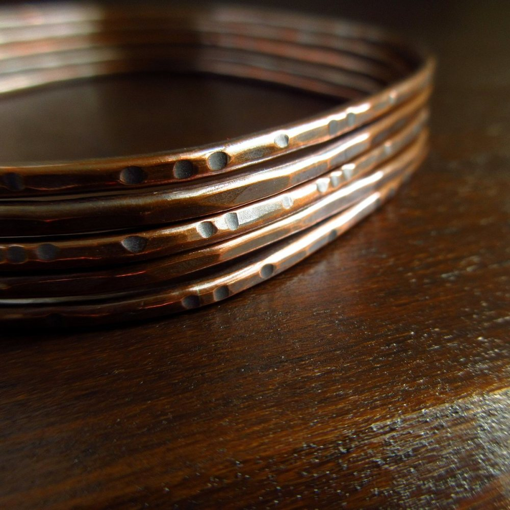 Skinny Copper Bangles - Rounded Square Shape - Set of Five