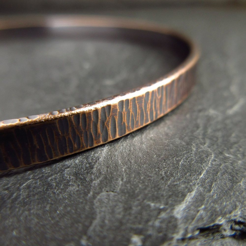 Rustic Bronze Bangle with Hammered Bark Texture - For Men and Women