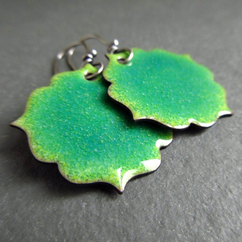 Fancy Shaped Green Enamel Earrings