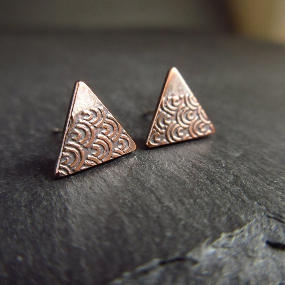Triangle Shape Copper Studs with Etched Design