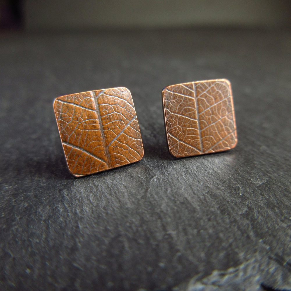 Square Copper Studs with Leaf Vein Texture