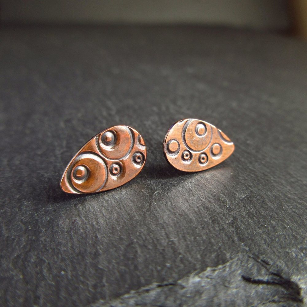 Stamped Copper Stud Earrings - Teardrop Shape