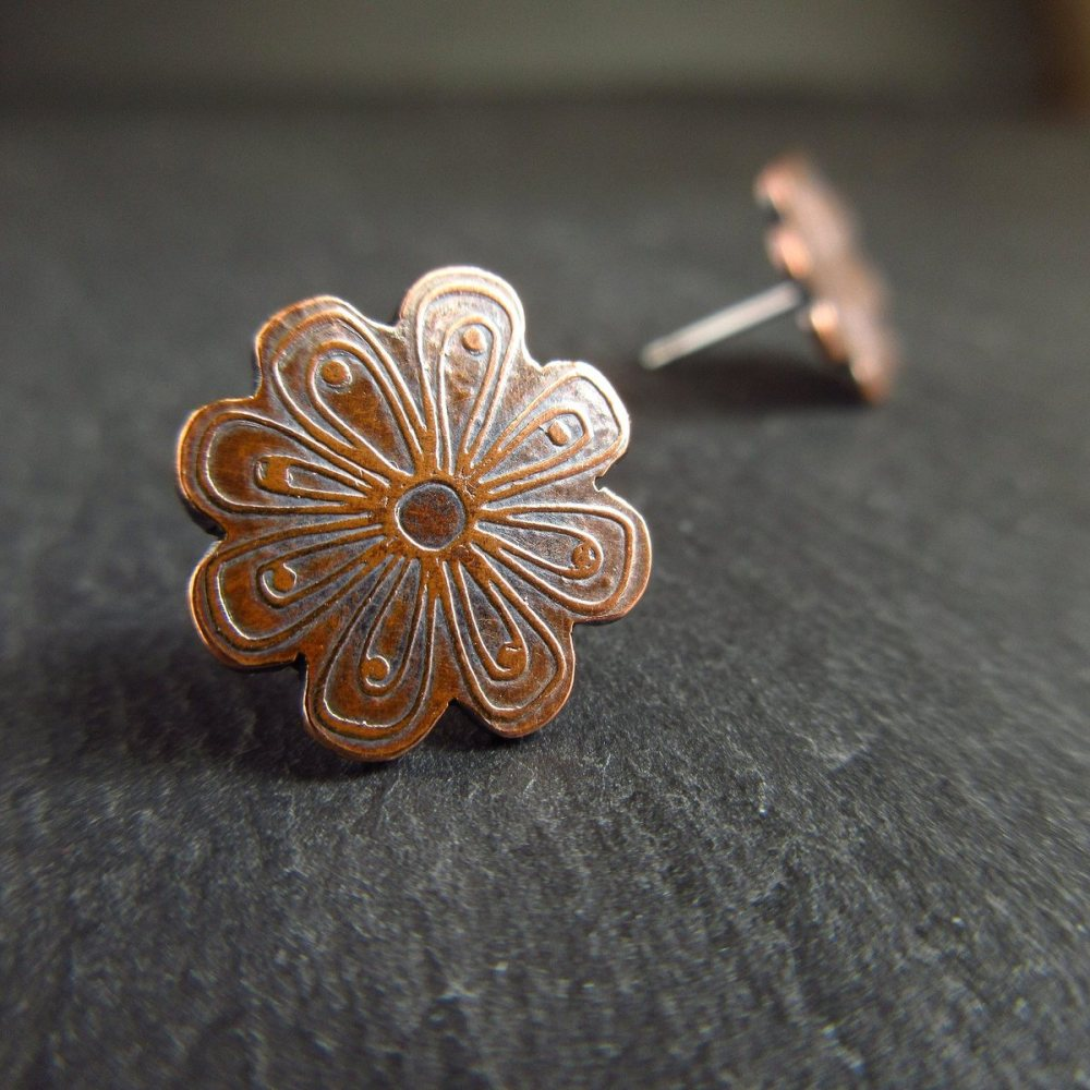 Copper Flower Stud Earrings