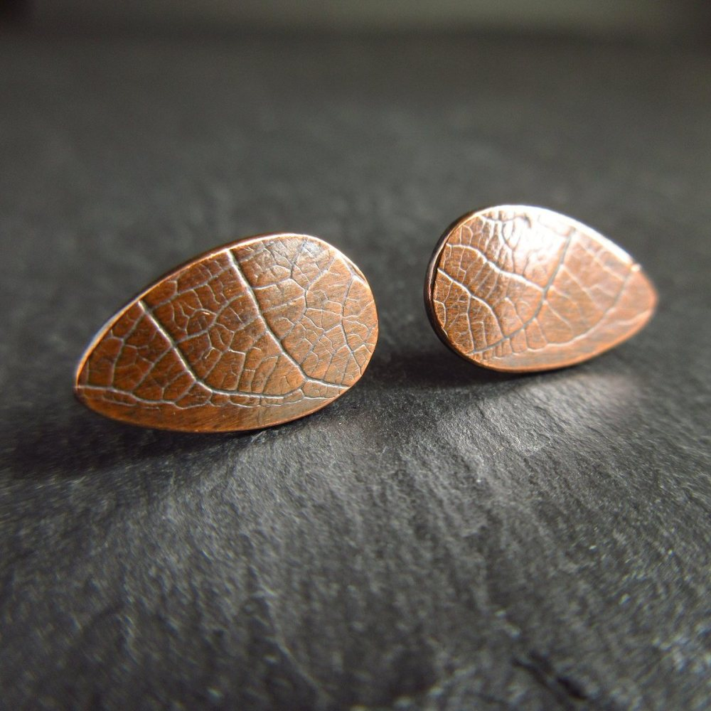Teardrop Copper Studs with Leaf Vein Texture