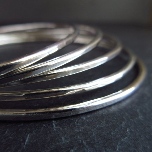 Hammered Sterling Silver Skinny Bangles