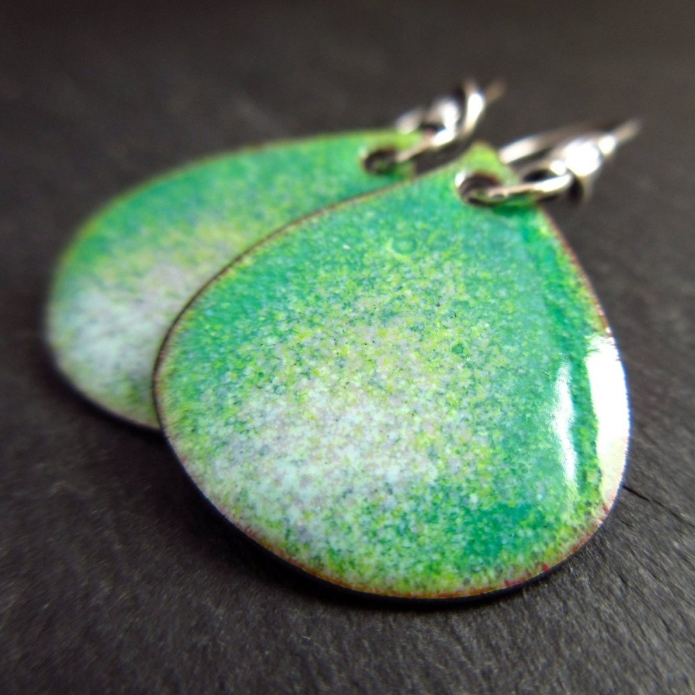 Speckled Green Enamel Droplet Earrings