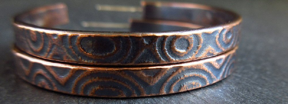 embossed copper post hoops 3
