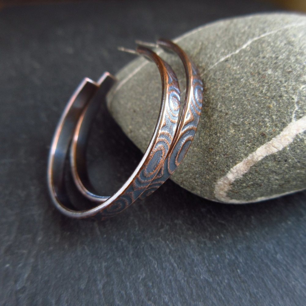 Copper Hoop Earrings With Post Fitting - Oval Pattern